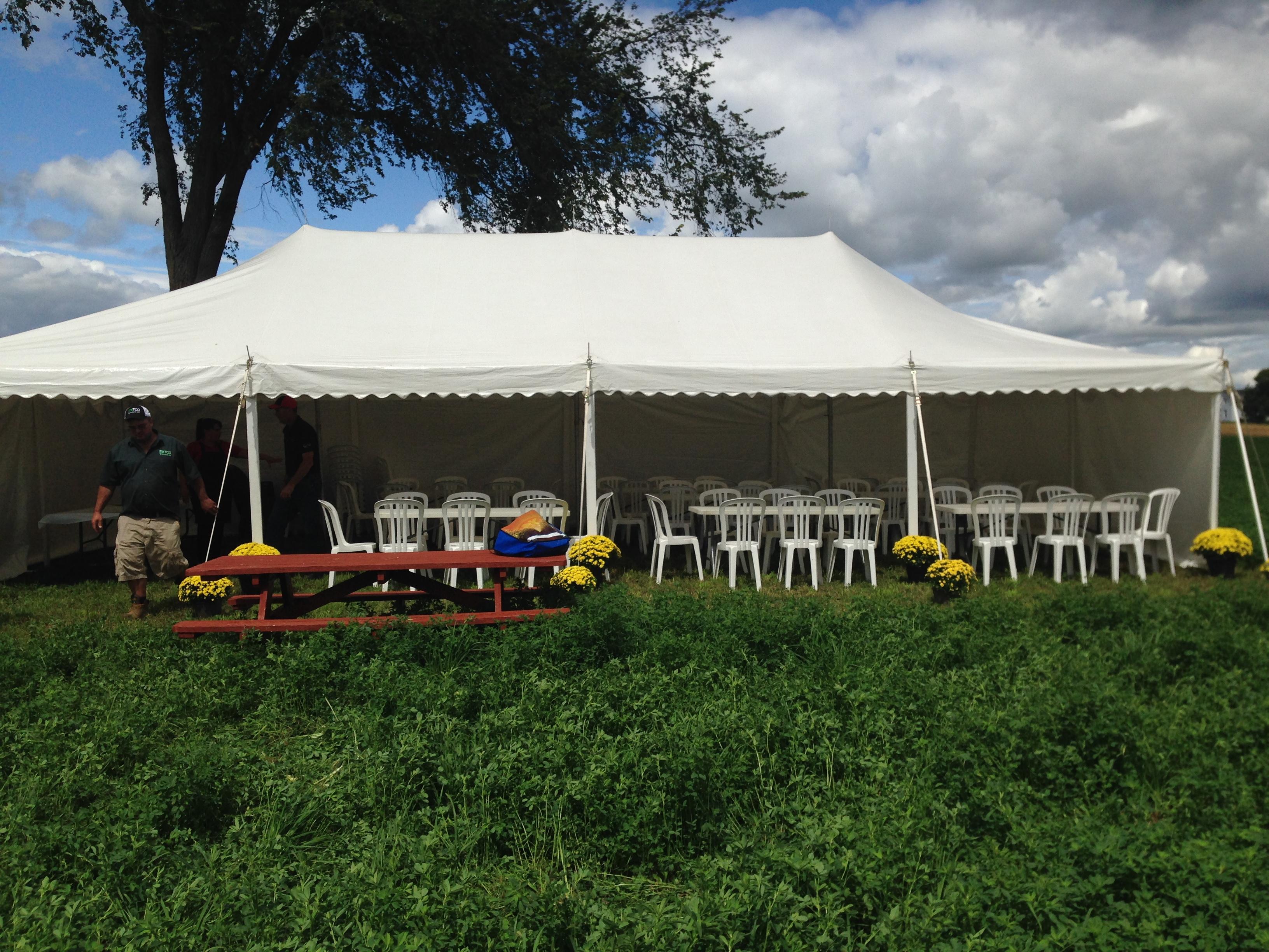 Tent set up for Lunch